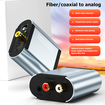 Digital to Analog Audio Converter Optical Fiber Toslink Coaxial Signal to RCA R/L 3.5mm Decoder Adapter
