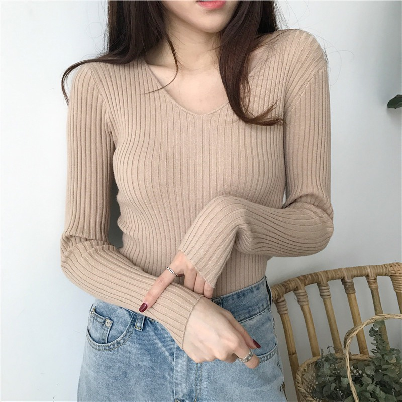 Women Base Sweater Slim Fit V Neck Sweater Sexy  Soild Color Tops Autumn One Size