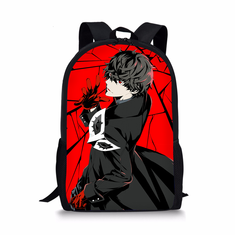 Anime <font><b>Persona</b></font> <font><b>5</b></font> Black Red School Bag for Kids Girl Boy <font><b>Backpack</b></font> P5 Joker Print Bolsa Children Bookbag Mochila Travel Satchel image