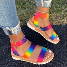 High Heel Wedges Ladies Colorful Gladiator Sandals Shoes Woman Party Summer Sandals Women 2020 Big Size Women's Summer Sandals(China)