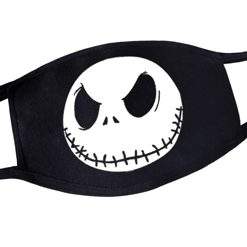 Hip Hop Dustproof Anime Cartoon Kpop Casual Women Men Terror Torror Skull Mouth Masks Black Mask Mouth Half Muffle Face Mask