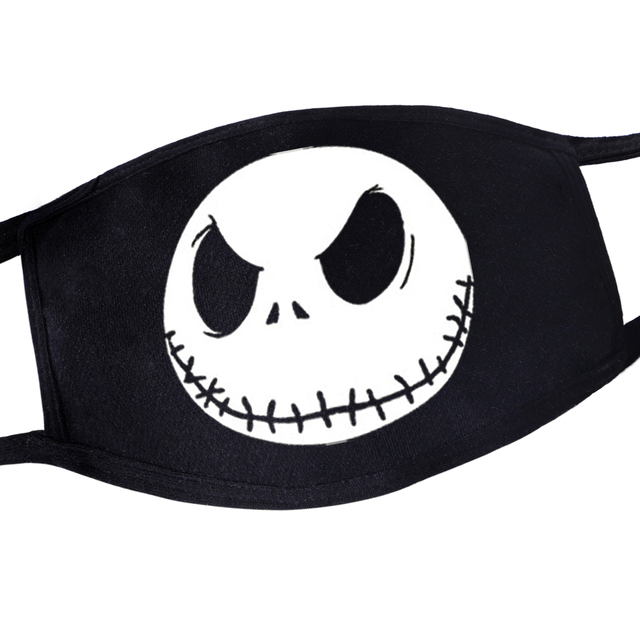 Hip Hop Dustproof Anime Cartoon Kpop Casual Women Men Terror Torror Skull Mouth Masks Black Mask Mouth Half Muffle Face Mask