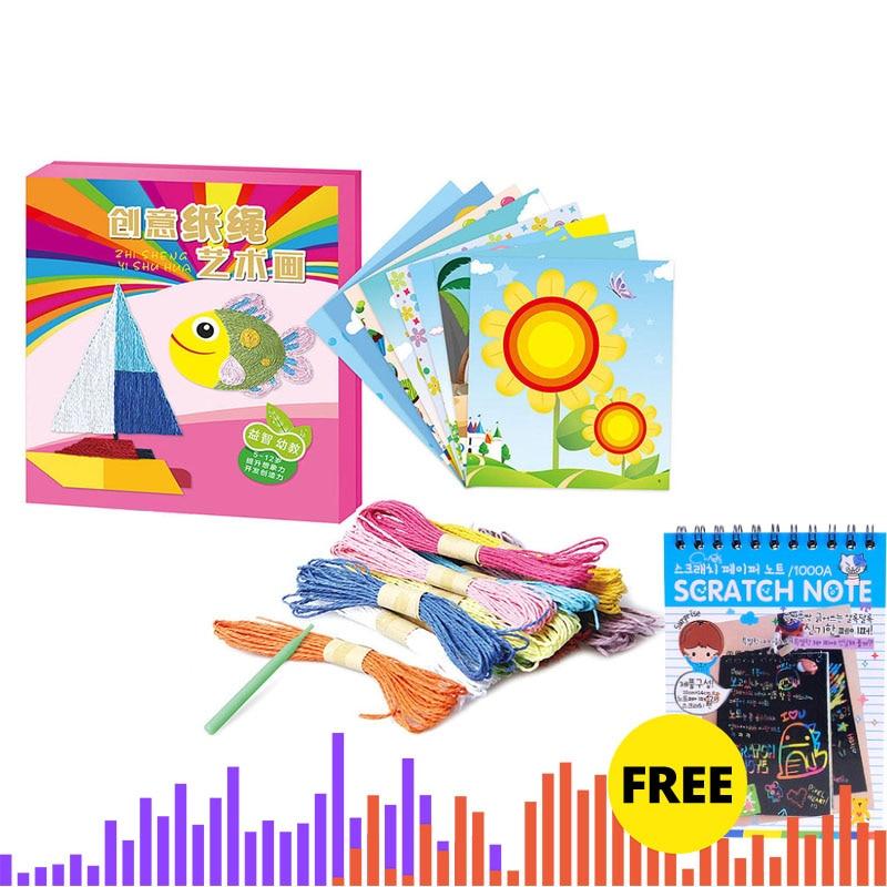 8 Pcs DIY Drawing Toy Paper Kindergarten Rope Paste Painting Toy Creative Interest DIY Handmade Crafts  For Kids Children