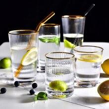 Tasse en verre à Grain Vertical en Silm doré japonais, 450/tasse Simple pour la maison, pour café, lait, jus, Bar, verres