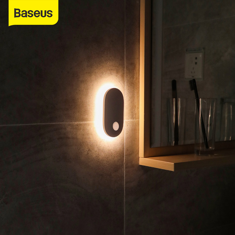Baseus USB Light Natural White Night Light Body Induction Entrance Wall Light USB Charging Light Bedroom Motion Sensor LED Lamp