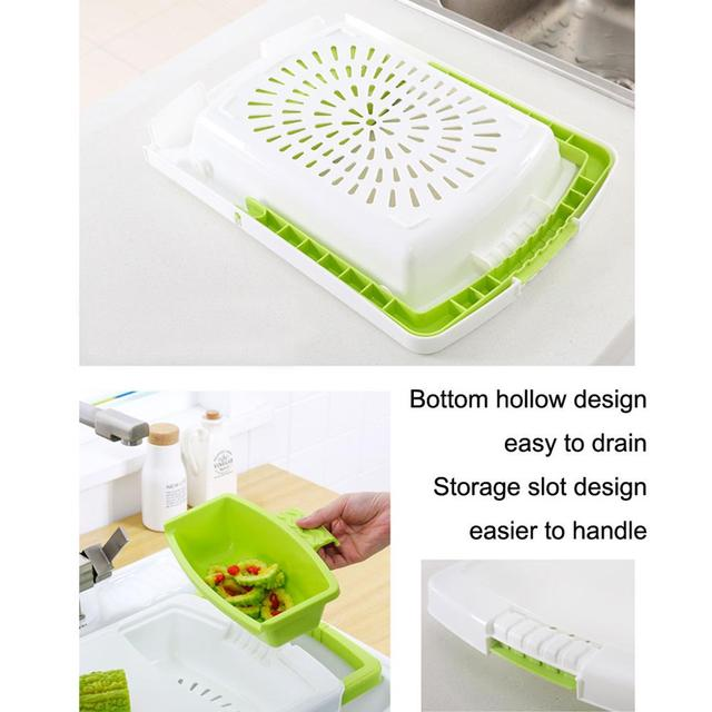 Multi-function Kitchen Cutting Board 3-in-1 Storage Basket Vegetable Fruit Drain Rack Detachable Basket Household 6