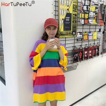 Korean Style Oversize T Shirt Dress Girl Preppy Style Summer 2020 Rainbow Striped Loose Casual Long Tee Colourful Cute Home Wear curved hem striped tee dress