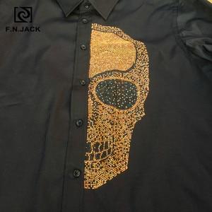 Image 5 - F. n. שקע 2019 הגעה חדשה Mens חולצה ארוך שרוול גולגולת דפוס עבה גבר חולצות מקרית חורף זכר חולצות