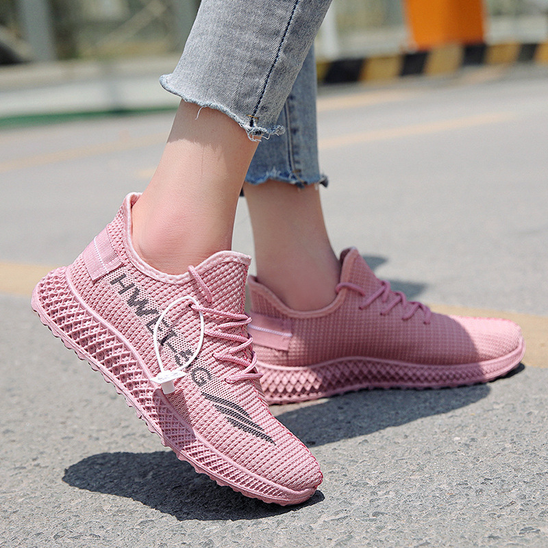 New Style Women's Shoes In 2020 Summer Breathable Fly Woven Casual Shoes Trend Sports Running Shoes Mesh Shoes Outdoor Sneakers