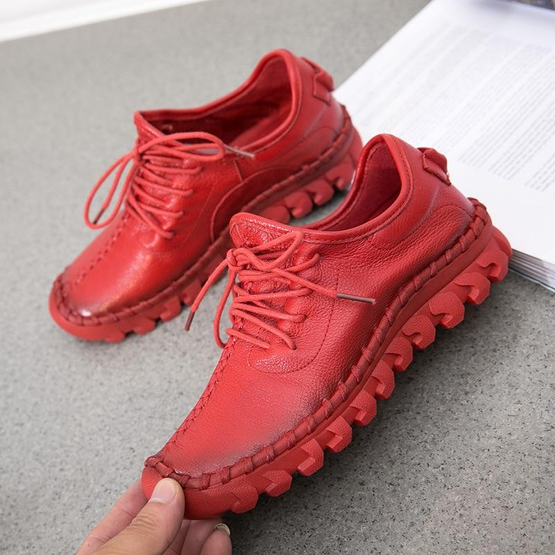 Women Casual Shoes 2019  Women Sneakers Fashion Breathable Geninue Leather Platform White Women Shoes Soft Footwears Rhinestone
