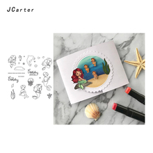 JC Clear Stamps for Scrapbooking Seabed Mermaid Hippo Dolphin Silicone Seals Craft Stencil Album Rubber Stamp Card Making Sheet