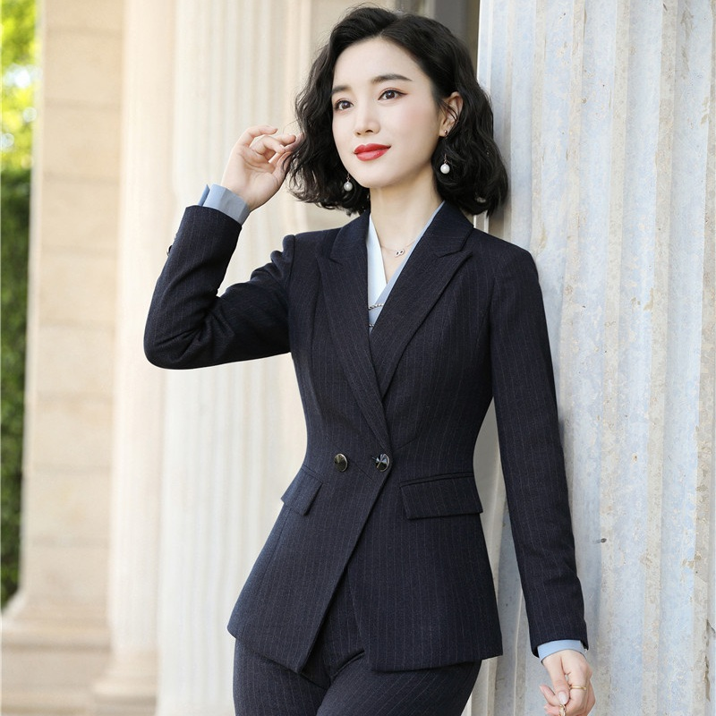 High Quality Women Blazer and Jackets Navy Blue Long Sleeve Office Ladies Clothes Female Elegant Formal Office Work Wear Styles