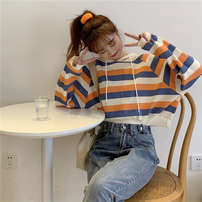 autumn style sweet long sleeve new hoodies and pullover striped hooded Drawstring crop top Women's Clothing Korean Ladies hot 17