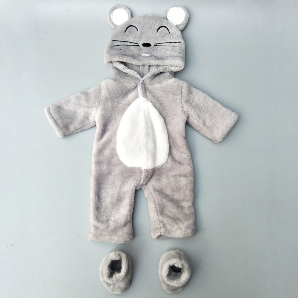 New Arrival 38cm Doll Clothes For 43cm Baby Doll Boy Clothes Pants Grey Mouse Set For 17 Inch Doll Fur Jumpsuit