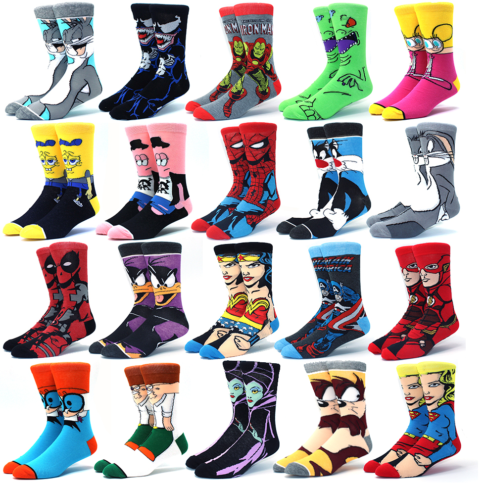 Superhero Socks Stockings Comics Skater Marvel Clown Deadpool Cosplay Batman Adult The title=