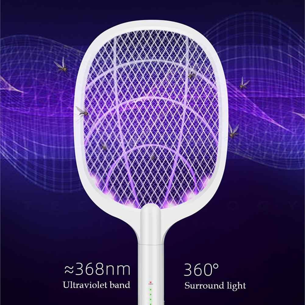 3000V Elektrische Insect Racket Vliegenmepper Zapper Usb 1200 Mah Oplaadbare Mug Swatter Doden Fly 3 Netwerk Bug Zapper Killer val