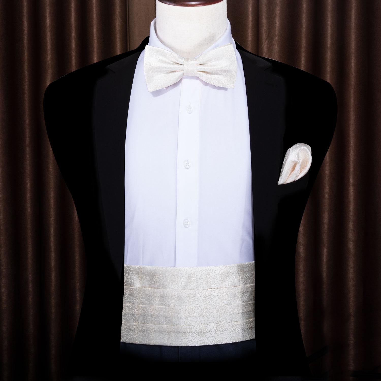 For Men Creamy White Paisley Cummerbund Bow Tie Silk Floral Set Pocket Square Cufflink Formal For Tuxedo Suit Barry.WangYY-1006