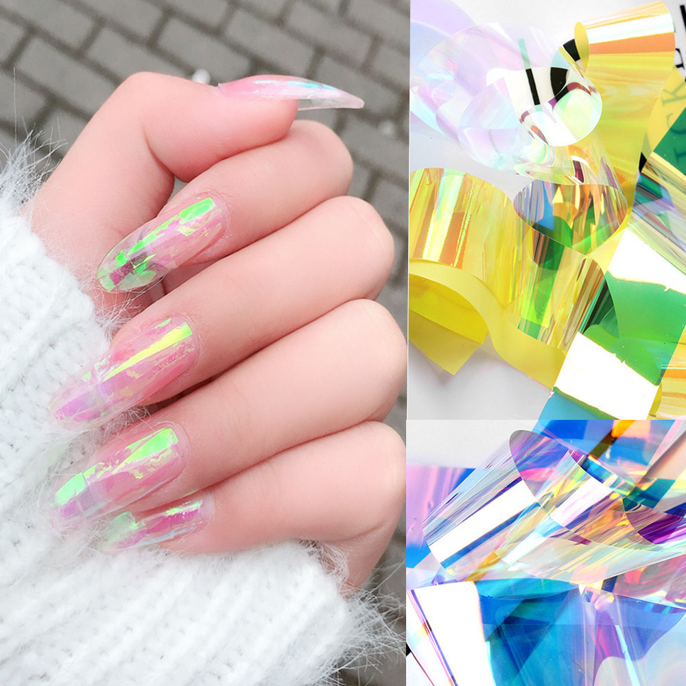 New Style Manicure Aurora Adhesive Paper Irregular Broken Glass Symphony Adhesive Paper Mirror Bo Zhi Glass Sticker 5*20
