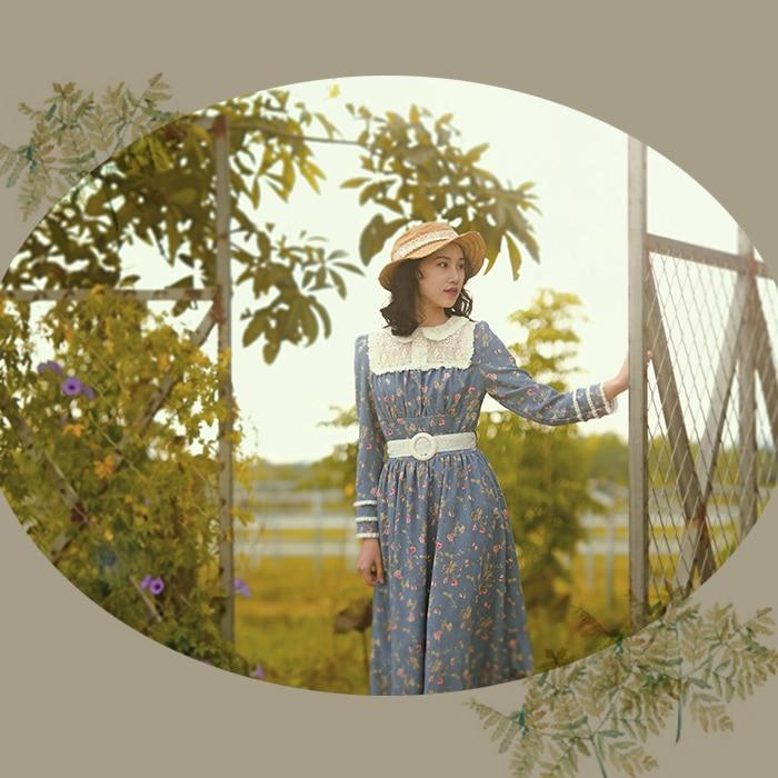 Design original aigyptos outono inverno feminino vintage francês estilo rural manga longa rendas floral veludo longo vestido de princesa - 2
