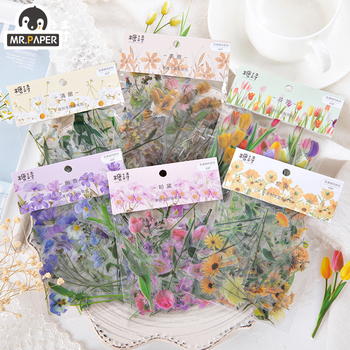 Mr.paper 6 Designs Flowers Series Deco Die Cutting Diary Stickers Scrapbooking Planner Bullet Journal Deco Stationery Stickers mr paper 4 designs 100pcs lot animal daily deco washi diary stickers scrapbooking planner bullet journal doodling stationery
