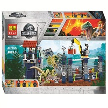 10923 307pcs Compatible Jurassic Dinosaur World 75931 Dilophosaurus Outpost Attack Jurassic World Series Building Blocks Toys lepin original jurassic world building blocks sets jurrassic park 4 dinosaur model compatible bricks toys for children