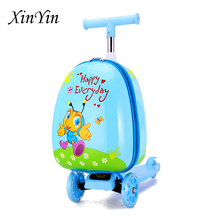 Cartoon cute taste children scooter suitcase Christmas small gift lazy trolley bag outdoor travel luggage school bags for kids