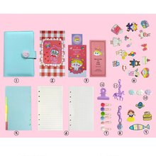 New diary cute cartoon notebook girl heart account diary plan notebook loose-leaf notebook diary korean girl heart pig girl notebook pvc transparent 6 hole loose leaf diary inside page a6 spiral notebook supply office