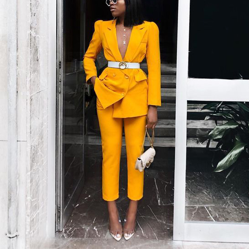2020 Spring And Autumn  Business  Women's Long-sleeved Suit Solid Color Elegant Small Suit Straight Pants Women's Suit Two-piece