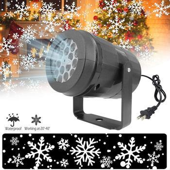 Oświetlenie sceniczne LED płatek śniegu LED light biały projektor burzy śnieżnej świąteczna atmosfera świąteczna rodzinna lampa specjalna tanie i dobre opinie ELLAGLVS CN (pochodzenie) Stage lighting effect Dmx etap światła Snowfall Projector Christmas Led Lights AC85V-240V Domowej rozrywki