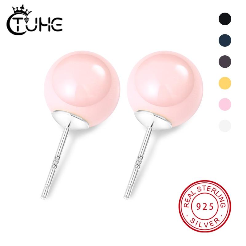 925 prata colorido bola de cerâmica brincos do parafuso prisioneiro simples rosa preto branco doces cerâmicos orelha acupuntura brincos para jóias femininas