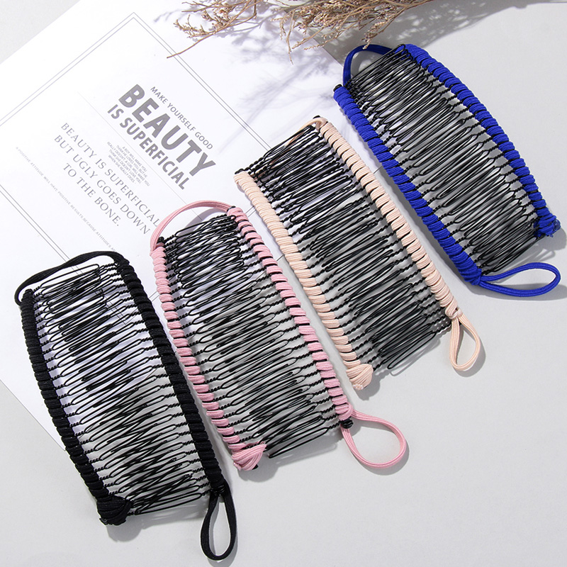 1Pc Banana Hair Clip Women Lazy Hair Comb Vintage Stretchable Hair Accessories Metal Hairclip Head Massage Hair Styling Tools
