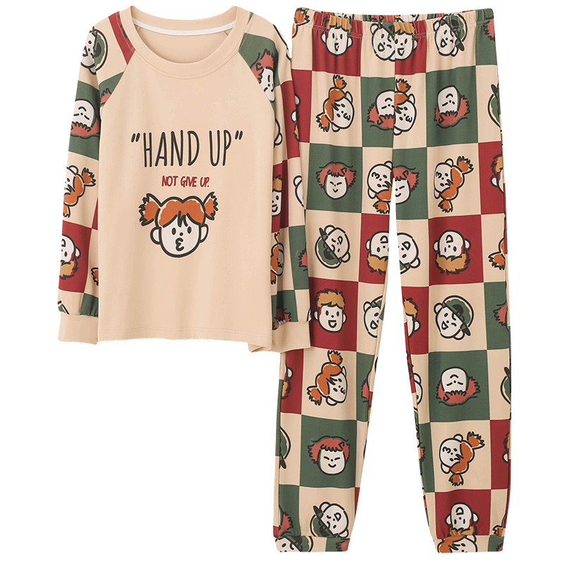 Kawaii Girl's Pajamas Cotton Long Sleeve Full Length Pants 2 Piece Women Home Wear Loose Size Cartoon Printing Loungewear Women