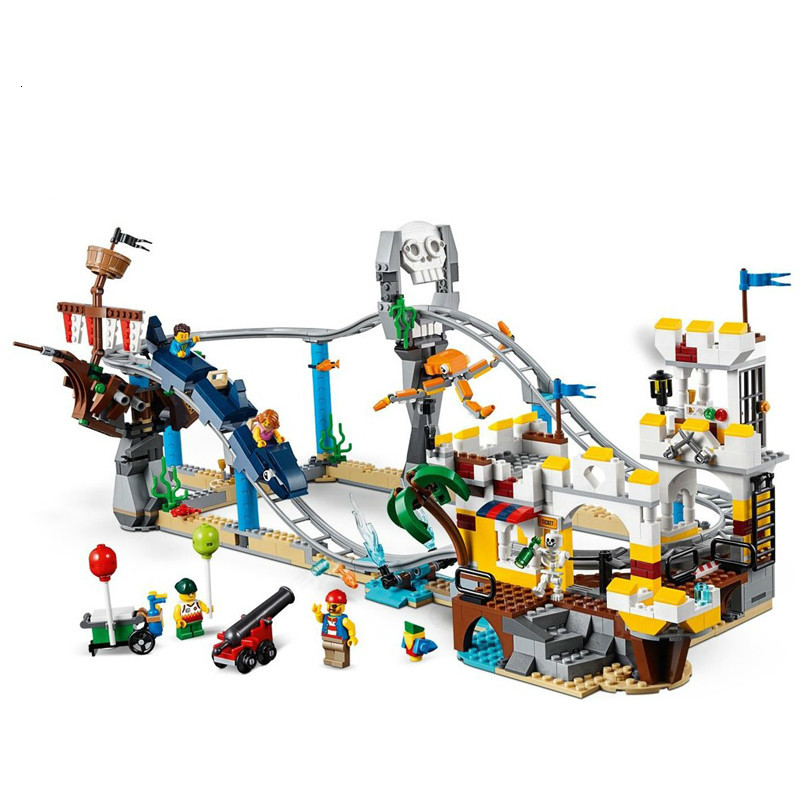 New Creators Builerds Set Pirate Roller Coaster 3 in 1 Compatible Legoingly 31084 Building Educational Toys Model Boy Gift