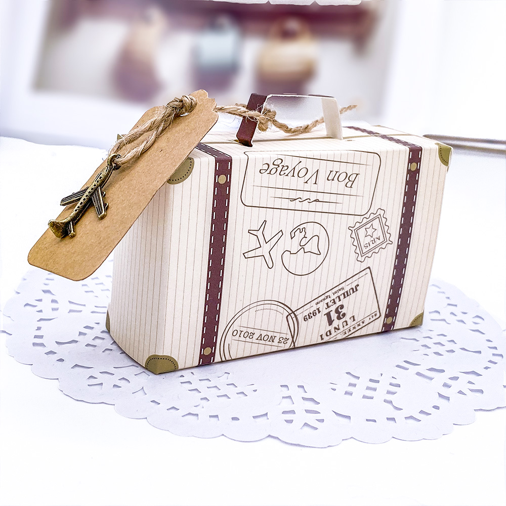 Suitcase Candy Boxes Travel Classic Elegant Theme Gift Box Wedding Birthday Anniversary Party Favor Boxes With Airplane Hainging image