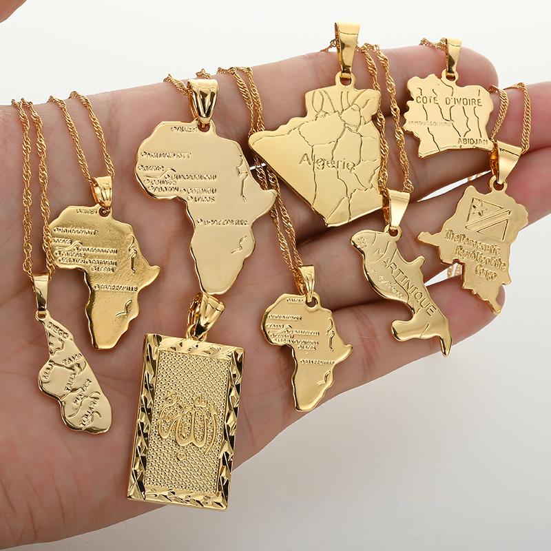 Africa Congo Algeria Map Pendant Necklace For Women Men Gold Color Copper Chain Necklaces Hiphop Style