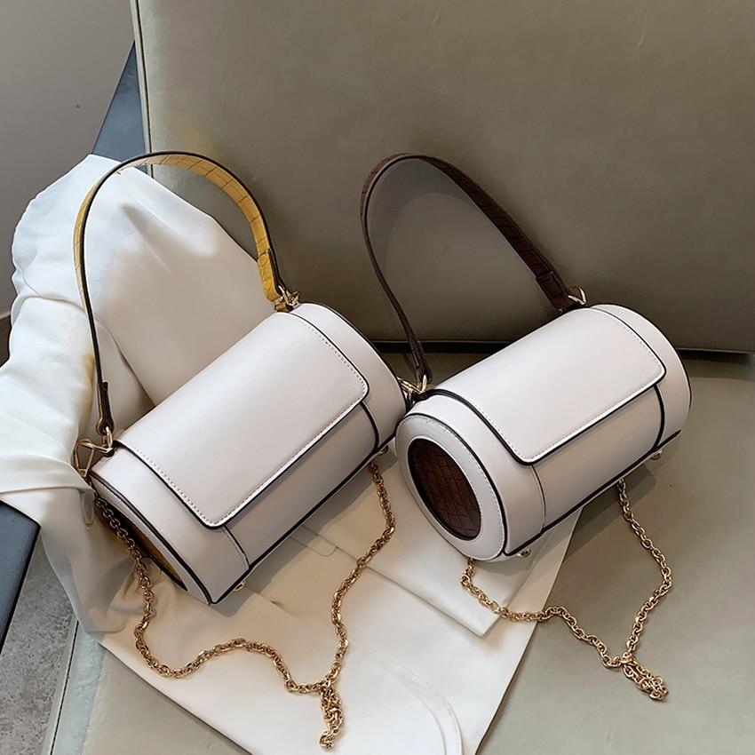 TOYOOSKY Women Ladies PU Leather Mini Handbag Small barrel-shaped Shoulder Bag Messenger Crossbody Female Handbags and Purses