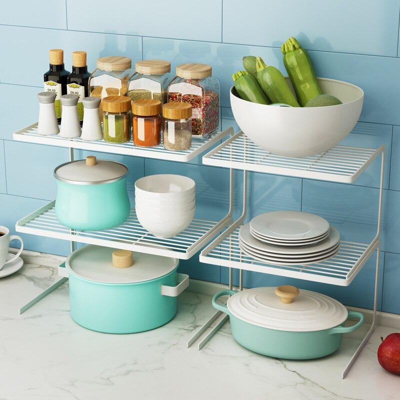 Kitchen rack refrigerator rack layered pot rack cabinet partition shelf multi-layer dishes seasoning storage rack metal shelf