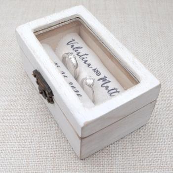 Personalized Wedding Ring Box Rustic Wooden Ring Holder Custom Ring Bearer Box,Box,Engagement Box