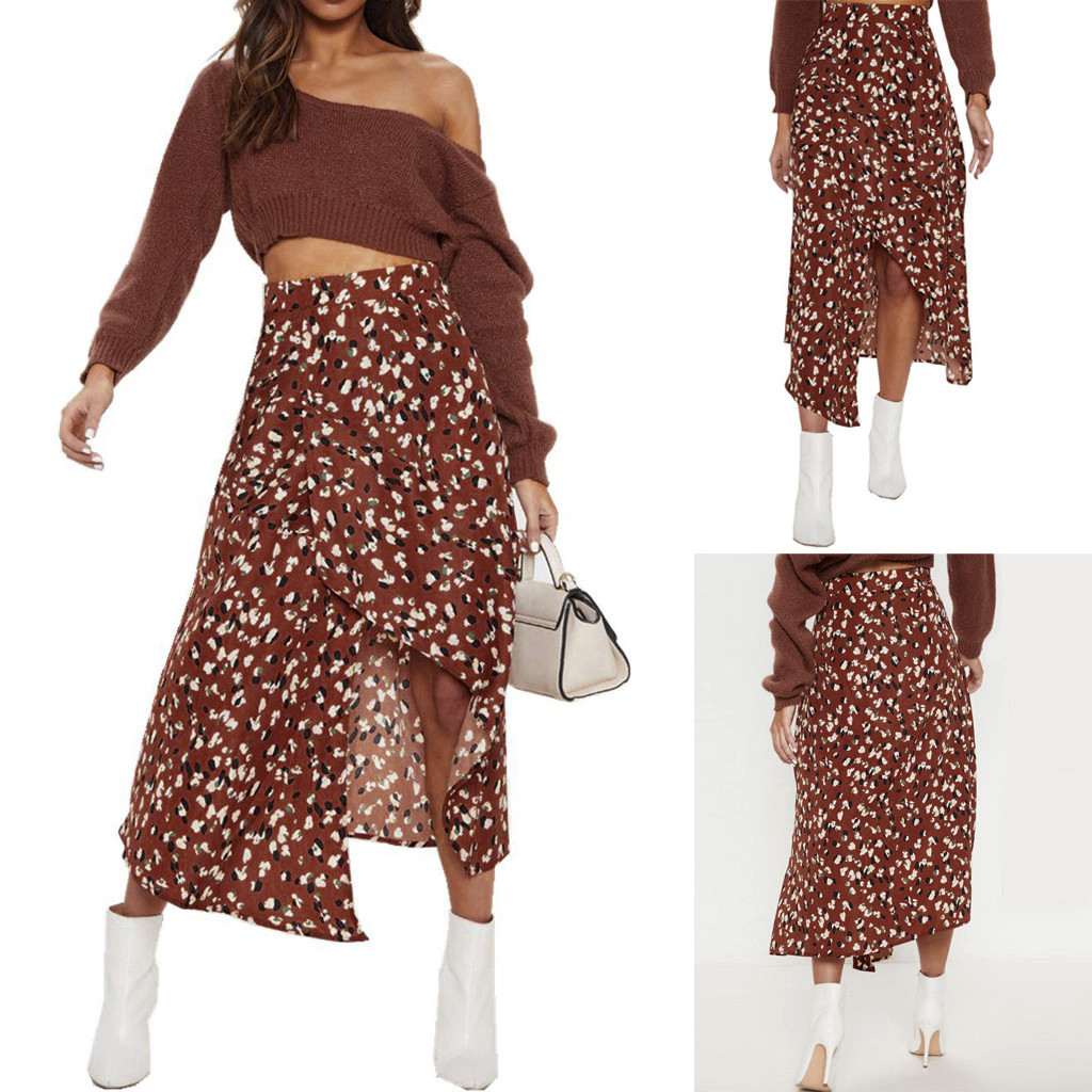 Womail Skirt Women Summer Print Empire Waist Open Fork Irregular Mid-Calf Casual Skirt Fashion NEW 2019 Dropship M28