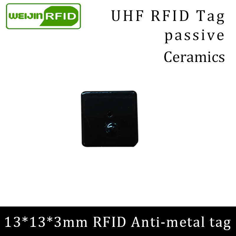 UHF RFID Anti Metal Tag 915mhz 868mhz Alien Higgs3 EPCC1G2 6C Tool 13*13*3mm Small Square Ceramics Smart Card Passive RFID Tags