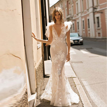 Verngo Mermaid Wedding Dresses Sleeveless Bride Dress Appliques Lace Backless Wedding Gowns Elegant Robe De Mariee verngo appliques lace tulle wedding dress a line wedding gowns custom made elegant sleeveless bride dress robe de mariee 2019