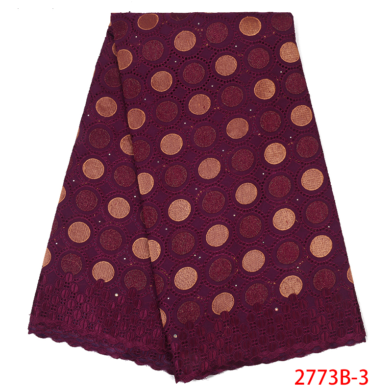 African Dry Cotton Lace Fabric,2019 Nigerian Embroidery Lace,High Quality Swiss Voile Lace With Stones For Women Dress KS2773B-3
