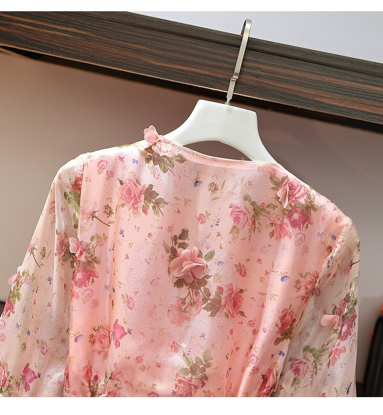 Women V-Neck Floral Appliques Chiffon Dress 2019 Summer Flare Sleeve Belt Flower Print Dress Empire Plus Size Mini Dresses 57