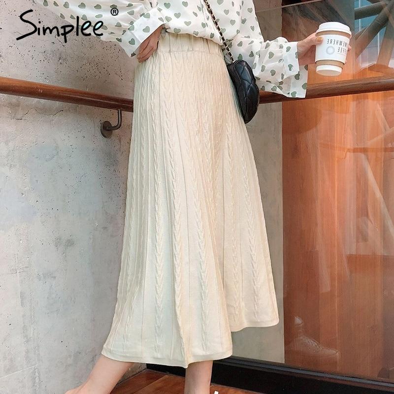 Simplee Elastic Knitted Women Skirt Elegant High Waist Solid Female Soft Skirt Autumn Casual Streetwear Ladies Midi Skirt Winter