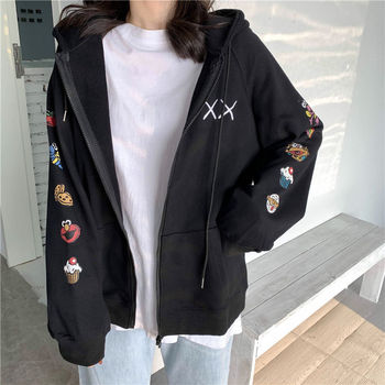 Harajuku Women Coats and Jackets Women Zipper Closure Women Jacket Autumn Winter Hooded Coat Cute Print Sleeve Clothes Korean new fashion women female korean short type long sleeve slim motor zipper leather jackets coats