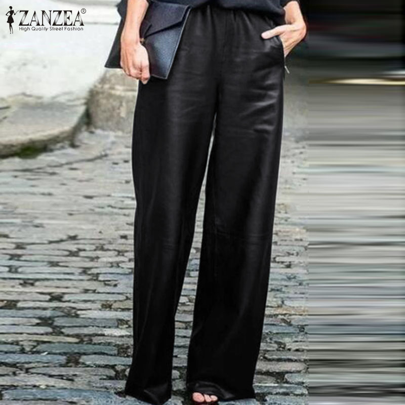 Women's Wide Leg Pants ZANZEA 2020 Fashion PU Leather Trousers Casual Elastic Waist Long Pantalon Female Black Turnip Plus Size