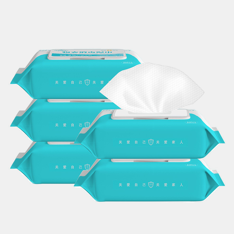 50pcs Portable Disinfection Antiseptic Pads Alcohol Swabs Wet Wipes Skin Cleaning Care Sterilization Aid Cleaning Tissue Box