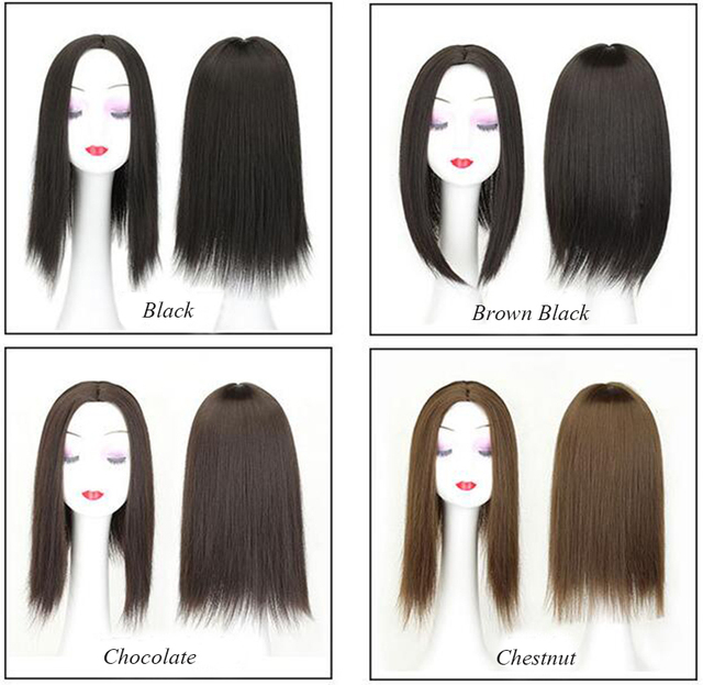 Women Hair Topper Piece Synthetic Hair 3 Clips In one piece Hair Extension long straight High Temperature Fiber 5