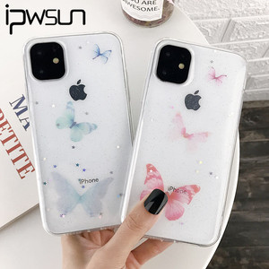 iPWSOO Butterfly Glitter Star Clear Phone Case For iPhone 11 Pro Max X XS XR Xs Max Simple Soft TPU Cover For iPhone 7 8 Plus(China)