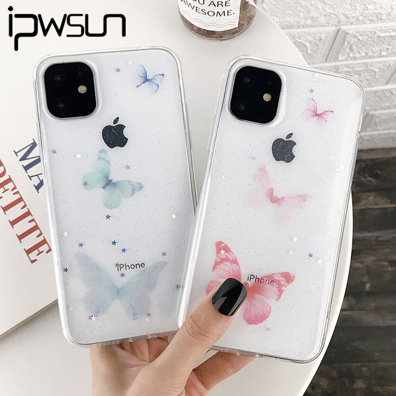 iPWSOO Butterfly Glitter Star Clear Phone Case For iPhone 11 Pro Max X XS XR Xs Max Simple Soft TPU Cover For iPhone 7 8 Plus image